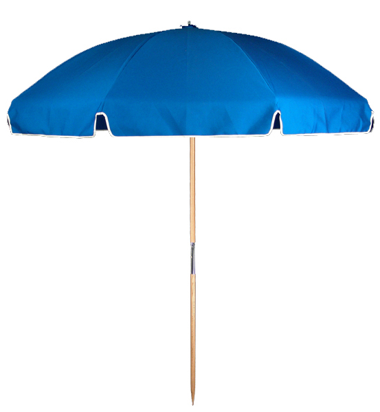 6.5′ BEACH UMBRELLA WITH FIBERGLASS SKELETON Stock Fabric:$149.00 Custom Fabric:$189.00