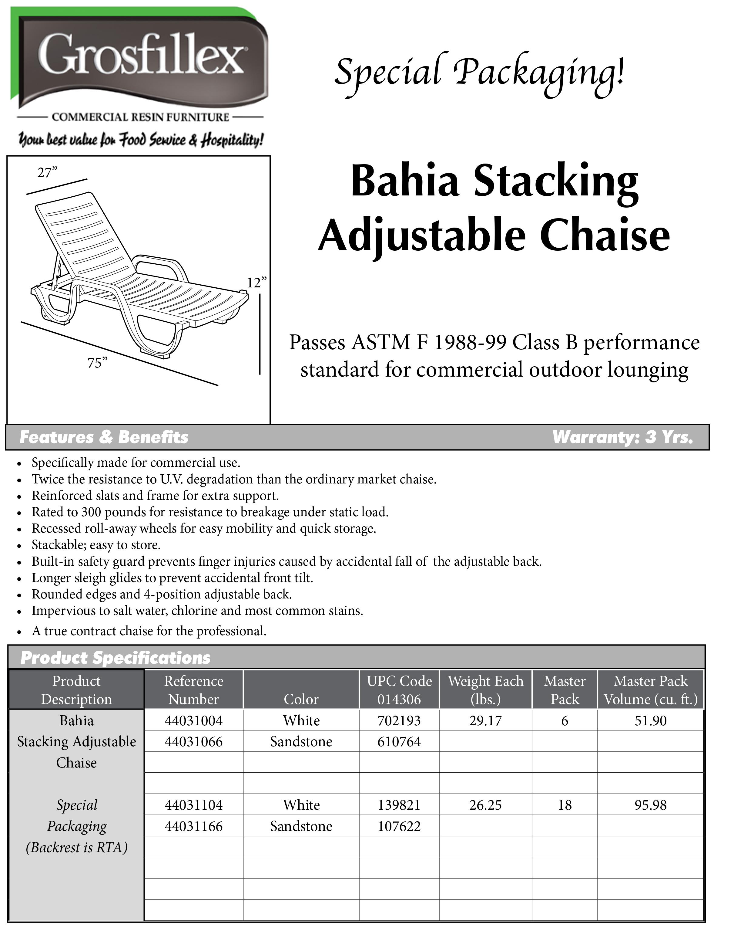Bahia chaise lounge cushion resort contract for Bahia chaise lounge