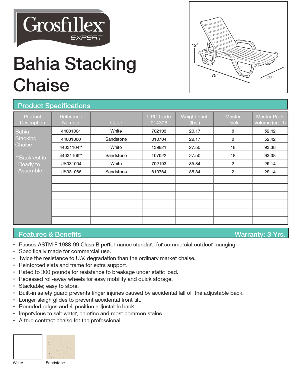 Grosfillex Bahia Stacking Chaise