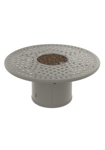 GARDEN TERRACE 55″ ROUND FIRE PIT WITH ROUND BASE. SHOWN IN TITANIUM 821549FP