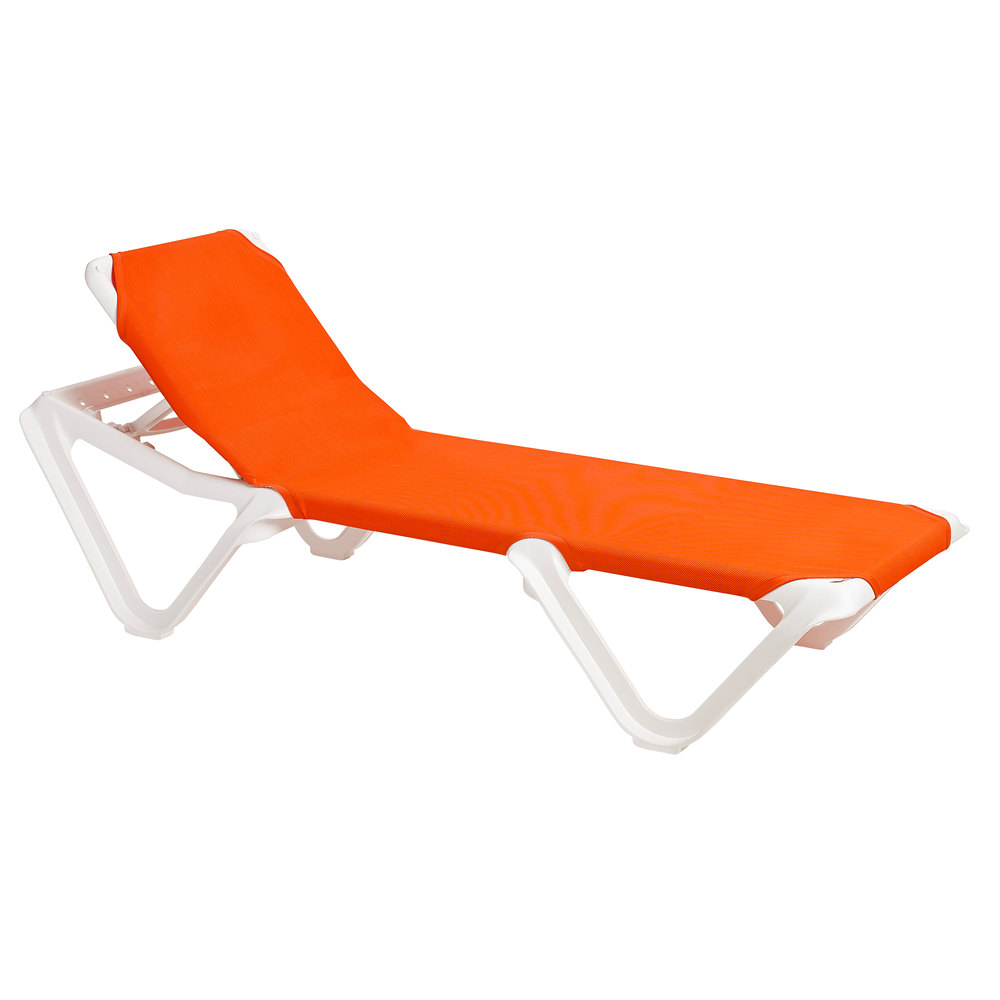 Grosfillex Outdoor Nautical Patio Chaise Resort Contract