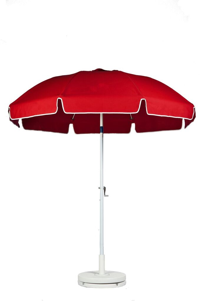 7.5u2032 PATIO UMBRELLA WITH FIBERGLASS SKELETON WITH VALANCE NO VENT. CRANK  LIFT, PUSH BUTTON TILT