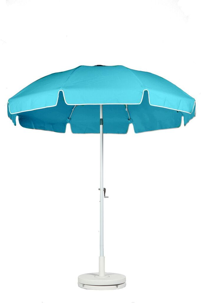 7.5′ PATIO UMBRELLA WITH FIBERGLASS SKELETON WITH VALANCE & VENT. CRANK LIFT, PUSH BUTTON TILT Stock Fabric:$249.00 Custom Fabric:$299.00
