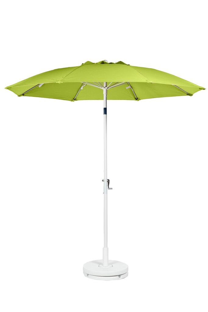 7.5′ PATIO UMBRELLA WITH FIBERGLASS SKELETON WITH VENT & NO VALANCE. CRANK LIFT, PUSH BUTTON TILT Stock Fabric:$249.00 Custom Fabric:$299.00