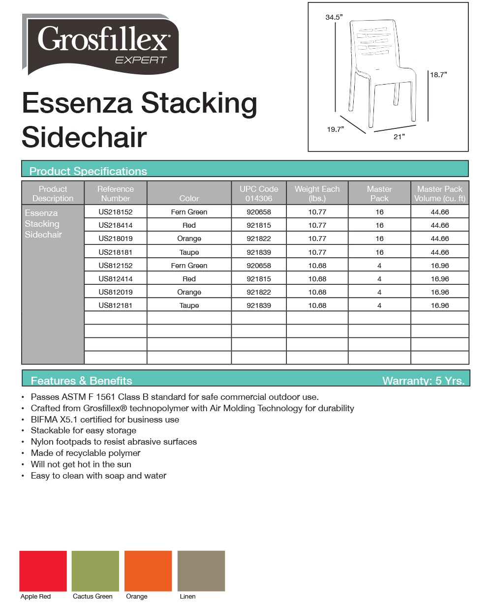 Grosfillex Essenza Sidechair