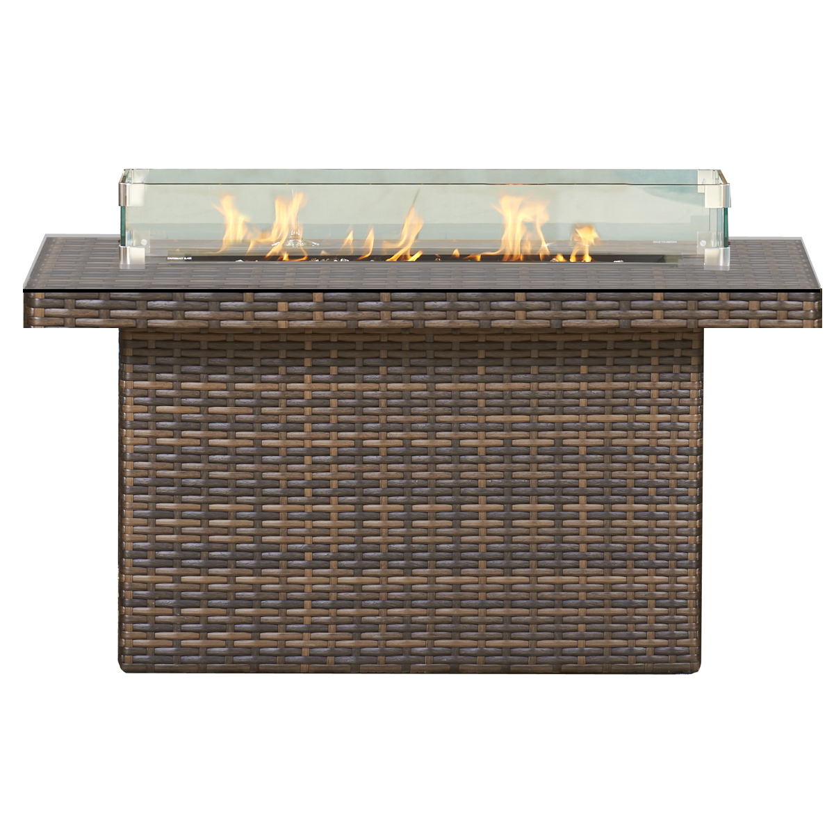 48″x36″WOVEN BASE WITH RECTAGULAR GLASS TOP FIRE PIT RC1510 $1359.00
