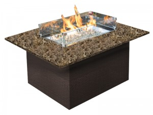 48″x36″WOVEN BASE WITH RECTANGULAR STONE TOP FIRE PIT RC1507 $1819.00
