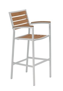 JADO BAR STOOL WITH ARMS-SILVER 2J1326ARM