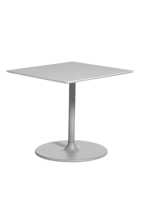 35″ SQAURE PEDESTAL TABLE WITH ROUND BASE-SILVER 2S1376