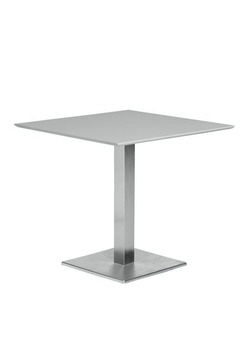 35″ SQUARE PEDESTAL TABLE WITH SQUARE BASE-SILVER 2T1376