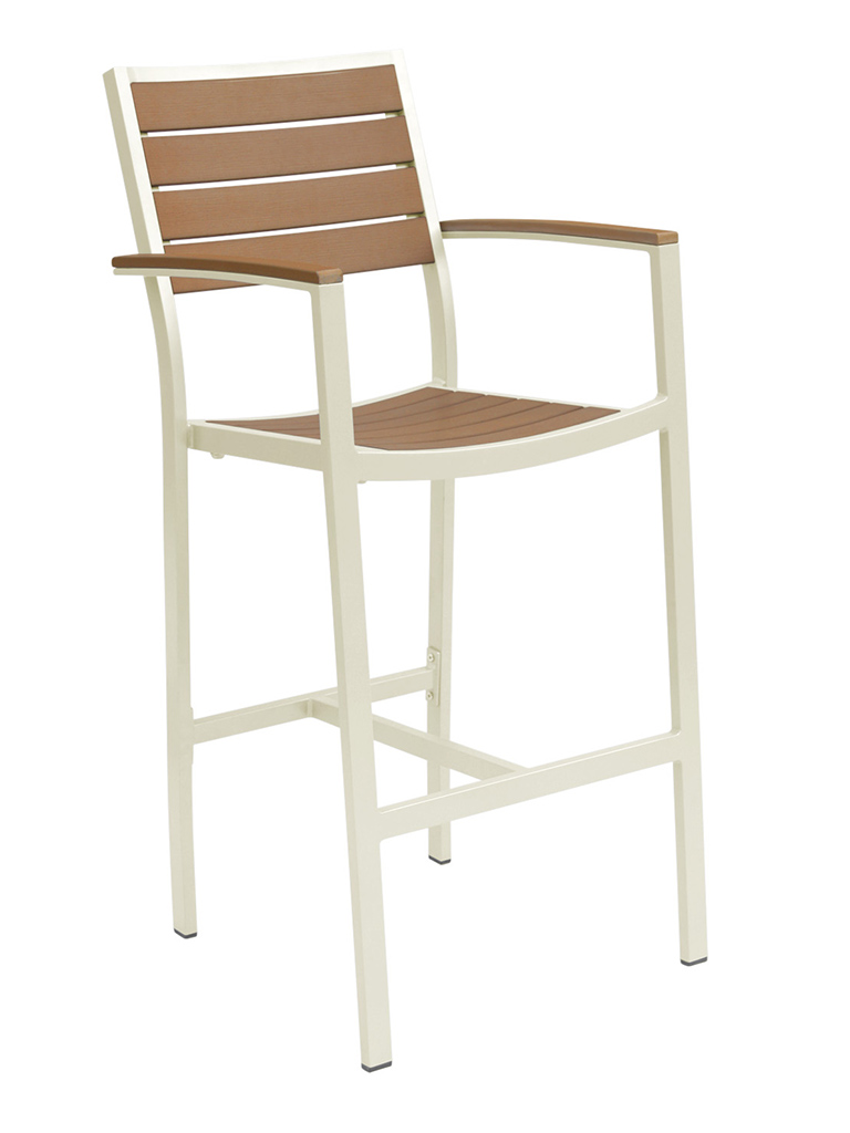 CARMEL BAR STOOL WITH ARMS-CHAMP/TEAK RC2054-CT $219.00 CLICK FOR SPEC SHEET