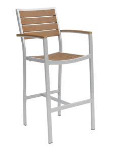 CARMEL BAR STOOL WITH ARMS-SILVER/TEAK RC2054-ST $219.00 CLICK FOR SPEC SHEET